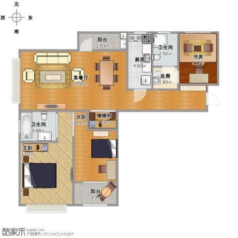 路劲主场琅悦3室1厅2卫1厨88.31㎡户型图