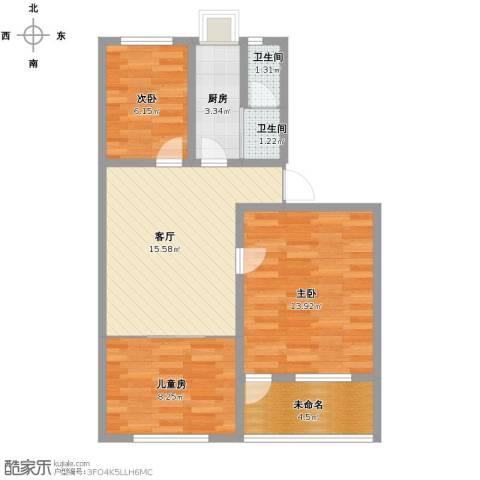 樱花园小区3室1厅2卫1厨62.00㎡户型图
