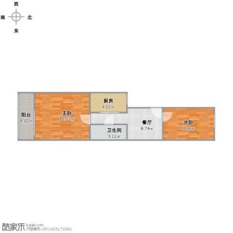 白家庄北里2室1厅1卫1厨48.00㎡户型图
