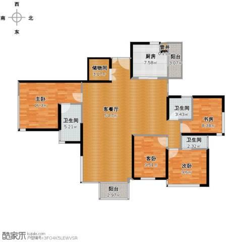 馨湖园4室1厅3卫1厨140.00㎡户型图