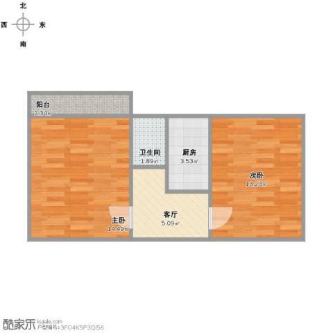 甸柳小区2室1厅1卫1厨44.00㎡户型图