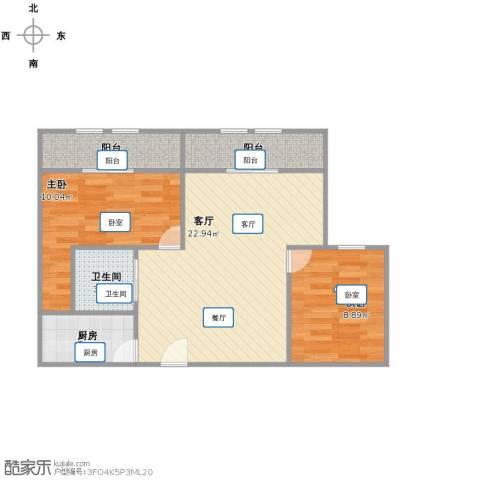 国豪水岸城2室1厅1卫1厨62.00㎡户型图
