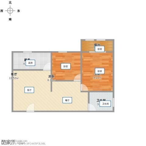 荣昌桂花园2室1厅1卫1厨50.00㎡户型图
