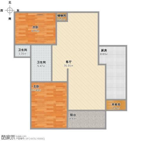 季景华庭2室1厅2卫1厨82.00㎡户型图