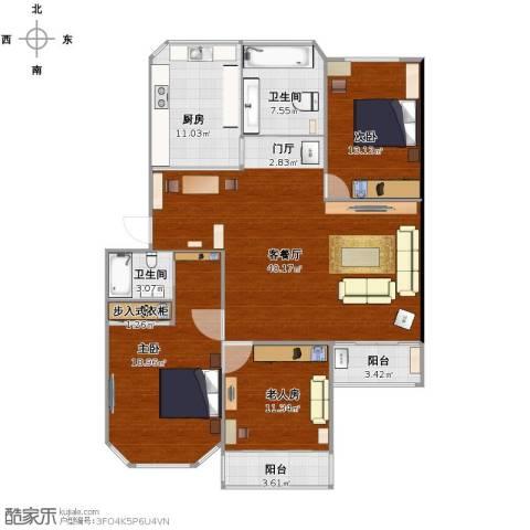 欧典家园3室1厅2卫1厨121.00㎡户型图