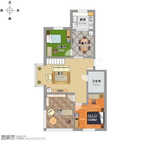 同香山庄3室2厅1卫1厨94.00㎡户型图