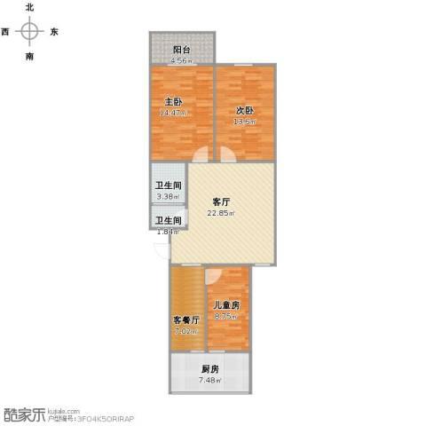 城南秀色3室2厅2卫1厨91.00㎡户型图