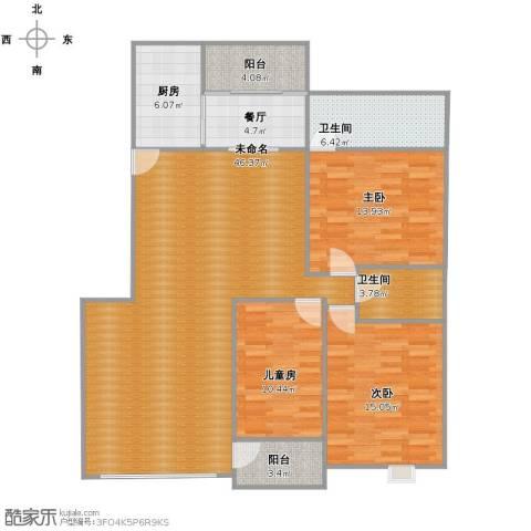 帝景传说山邸3室1厅2卫1厨123.00㎡户型图