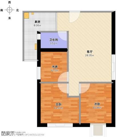 华港花园3室1厅1卫1厨97.00㎡户型图