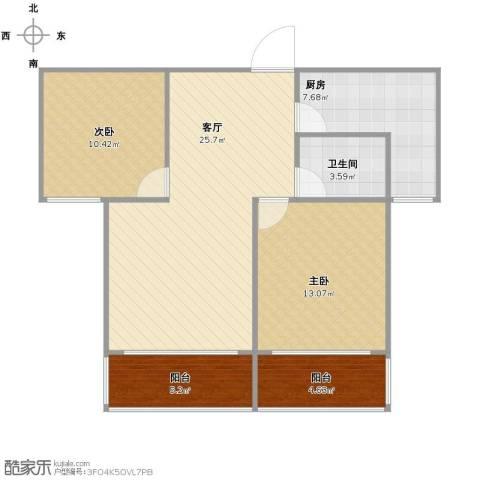 金源皇家园林2室1厅1卫1厨76.00㎡户型图