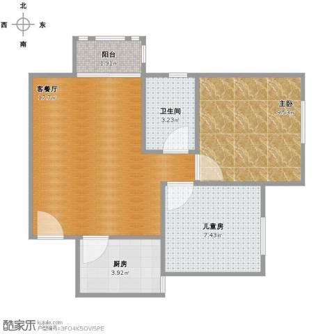 水岸观邸2室1厅1卫1厨48.00㎡户型图