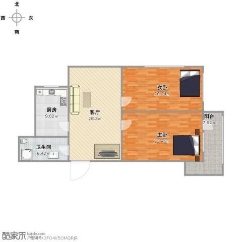 清河小区2室1厅1卫1厨101.00㎡户型图
