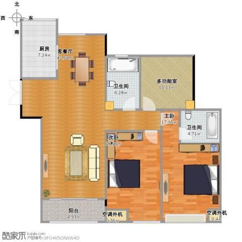 典雅花园2室1厅2卫1厨120.00㎡户型图
