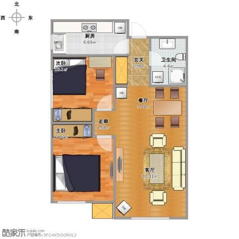 万科・润园2室1厅1卫1厨68.00㎡户型图