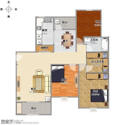 绿地21城C区3室1厅1卫1厨110.00㎡户型图