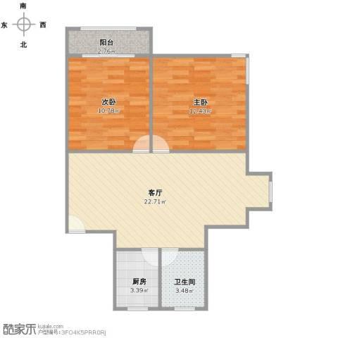 新月福邸2室1厅1卫1厨60.00㎡户型图