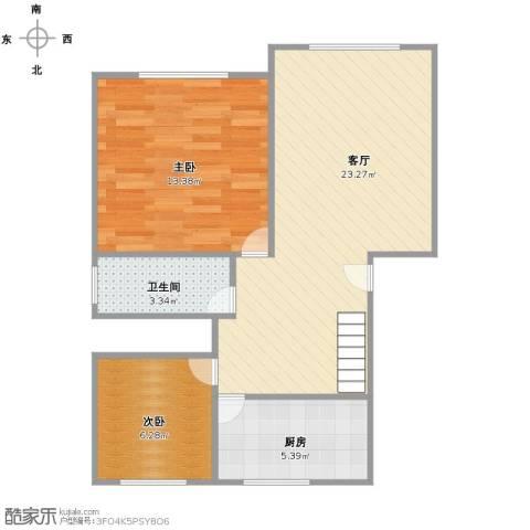 新月桃苑2室1厅1卫1厨56.00㎡户型图