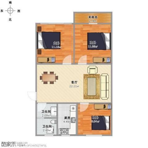 叙康里3室1厅2卫1厨70.00㎡户型图
