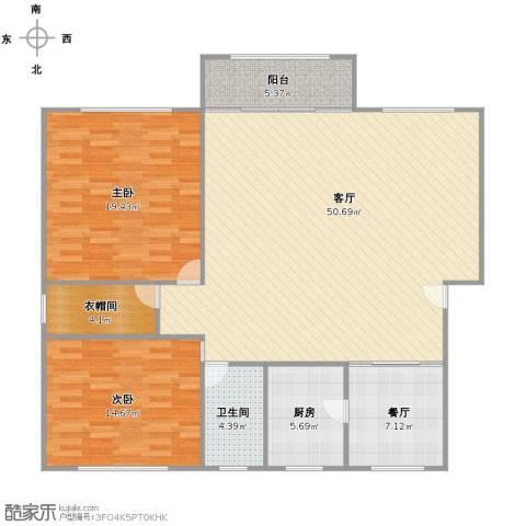 新月福邸2室2厅1卫1厨118.00㎡户型图