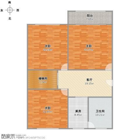 淞南五村3室1厅1卫1厨136.00㎡户型图