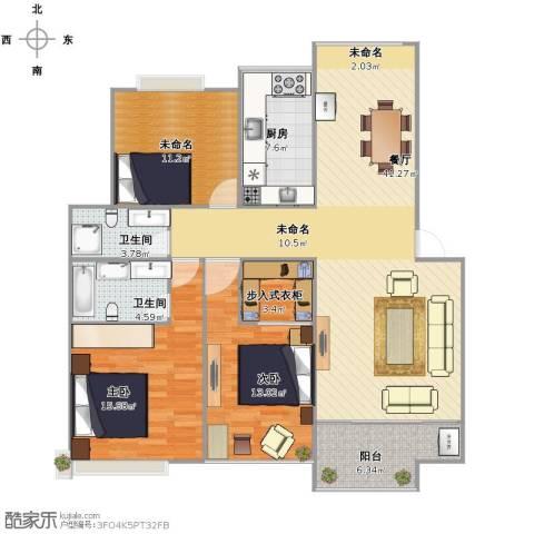 凯光中央华府2室1厅2卫1厨114.00㎡户型图