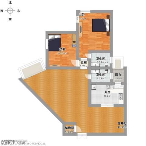 中福公寓2室1厅2卫1厨116.00㎡户型图