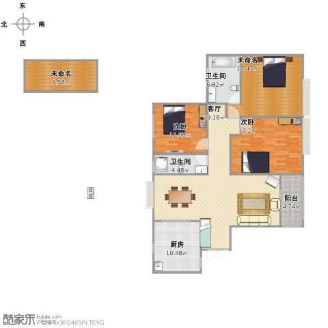 伯爵大地2室1厅2卫1厨129.00㎡户型图
