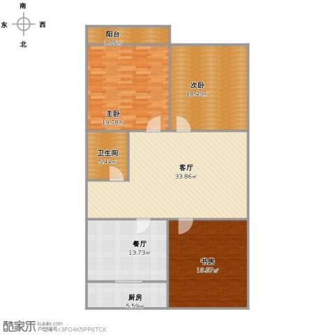 新新家园3室2厅1卫1厨128.00㎡户型图