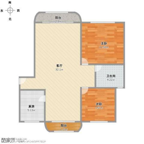 世纪非凡怡园2室1厅1卫1厨71.00㎡户型图