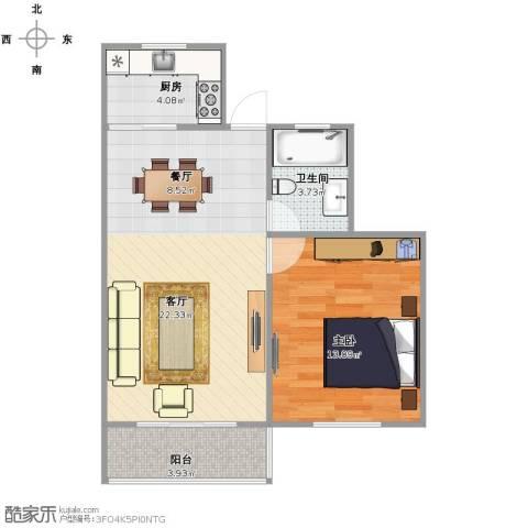 博山小区1室1厅1卫1厨64.00㎡户型图