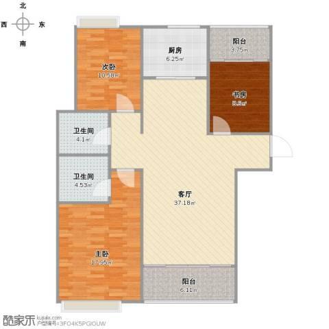 红石原著小区3室1厅2卫1厨133.00㎡户型图