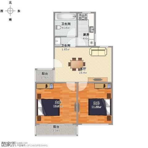 东陆新村九街坊2室1厅2卫1厨77.00㎡户型图