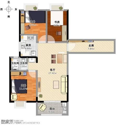 南通华润中心3室1厅2卫1厨94.00㎡户型图