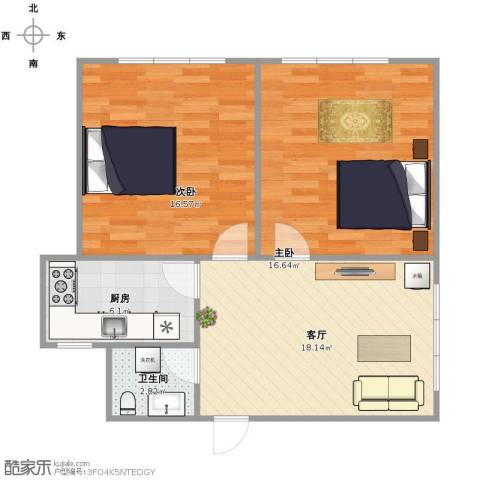 普乐门公寓2室1厅1卫1厨64.36㎡户型图