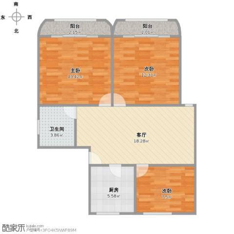 新泾苑3室1厅1卫1厨90.00㎡户型图