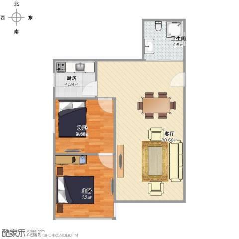 家电大楼2室1厅1卫1厨80.00㎡户型图
