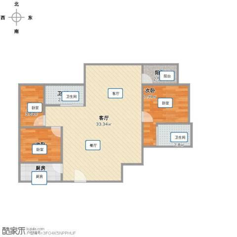 恒盛上花园3室1厅2卫1厨84.00㎡户型图