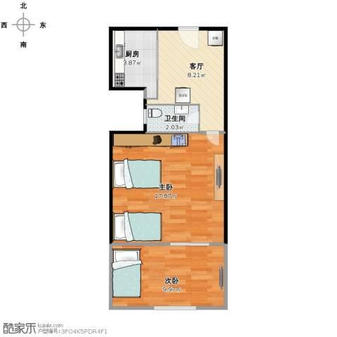 骑河楼大街小区2室1厅1卫1厨56.00㎡户型图