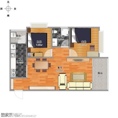 中航国际交流中心2室1厅1卫1厨77.00㎡户型图
