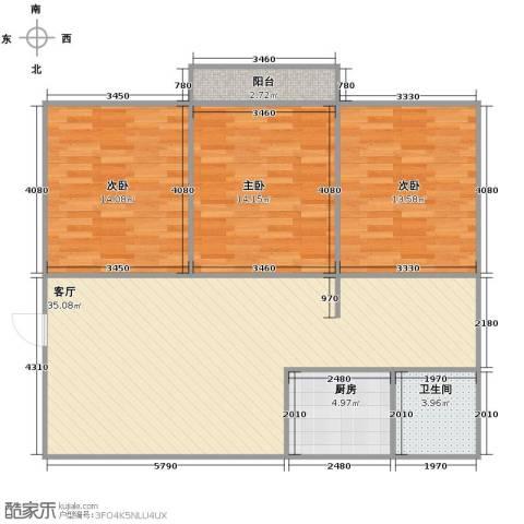 环山路山航宿舍3室1厅1卫1厨118.00㎡户型图