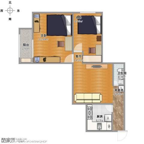 双旗杆东里2室1厅1卫1厨60.00㎡户型图