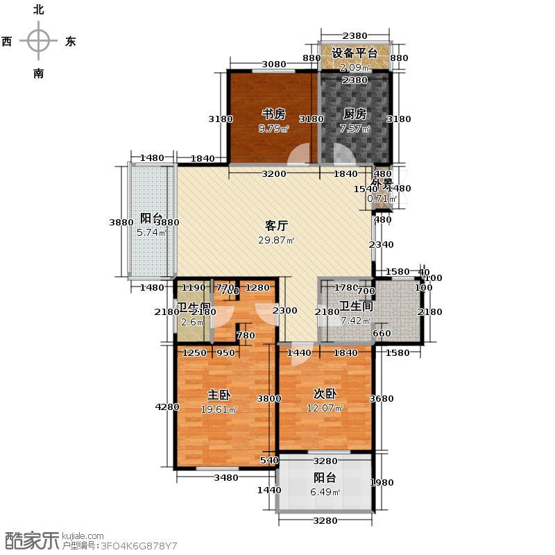 曙光之城125.00㎡7#奇数层西边套K1户型3室2厅2卫