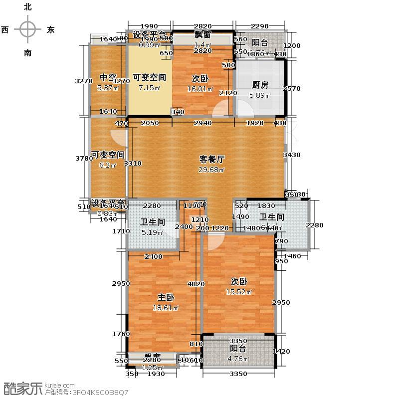 中和北宸府135.62㎡3、8号楼西边套偶数层C6户型3室2厅2卫