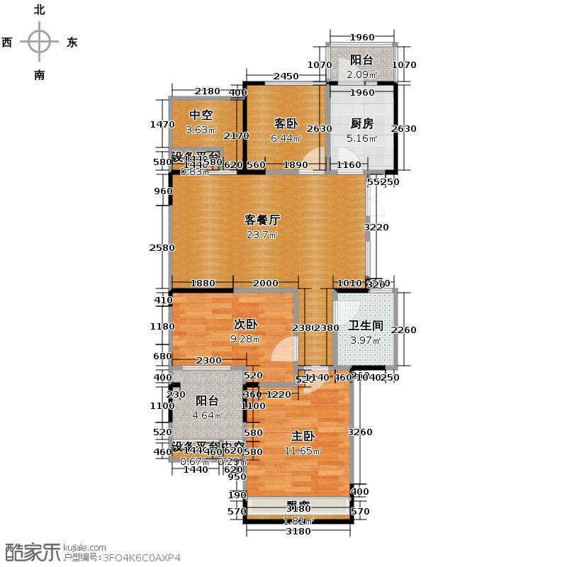 中和北宸府87.36㎡1、2和5号楼A1偶数层户型3室2厅1卫
