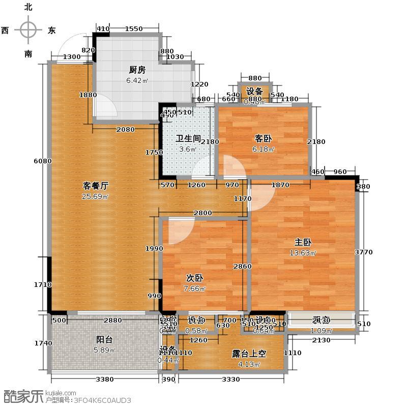 中和北宸府90.12㎡1、2和5号楼B1偶数层户型3室2厅1卫