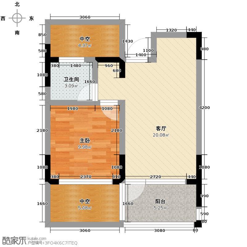 千岛湖柏润国际花园51.80㎡C35号楼户型1室2厅1卫