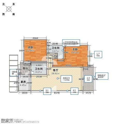 三岛龙州苑2室1厅2卫1厨103.00㎡户型图
