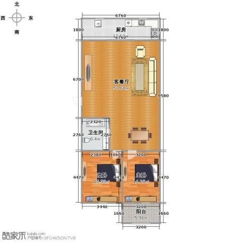 白马新苑2室1厅1卫1厨147.00㎡户型图