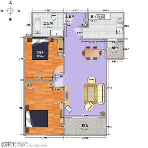 金辉天鹅湾2室1厅1卫1厨109.00㎡户型图