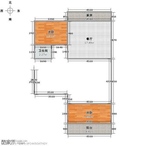 百花小区2室1厅1卫1厨62.00㎡户型图